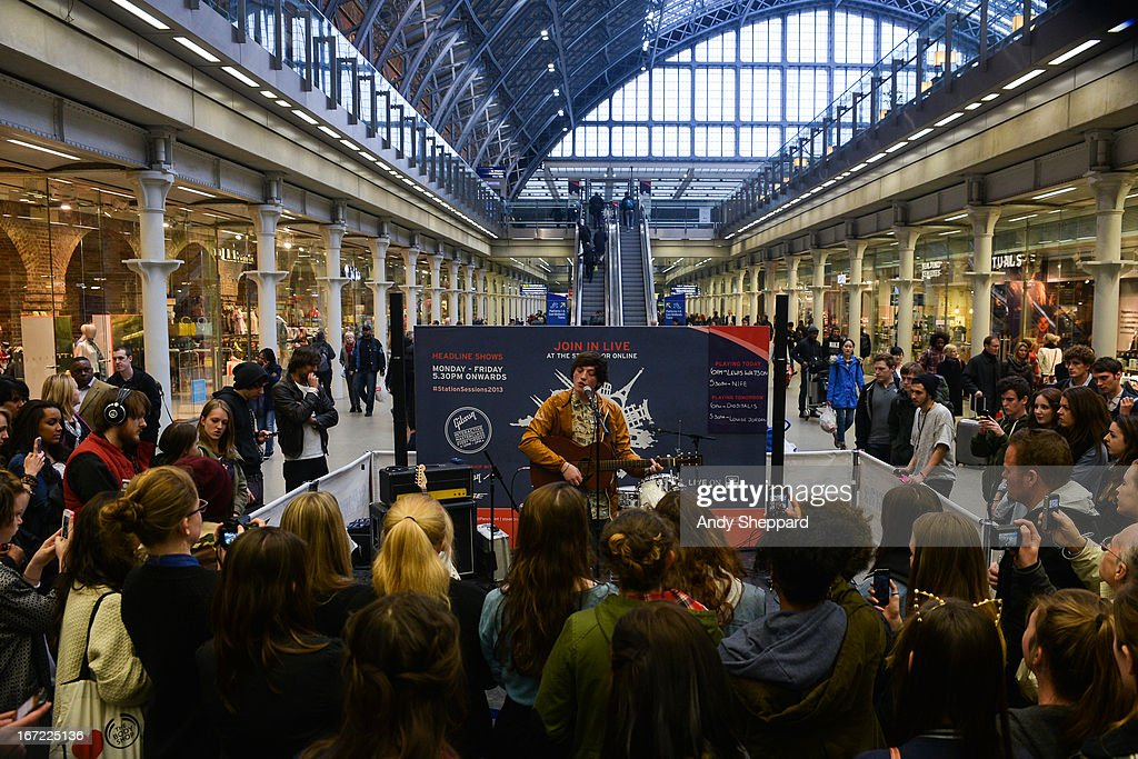 Singer-songwriter Lewis Watson performs for Station Sessions Festival 2013 at St Pancras Station on April 22, 2013 in London, England.