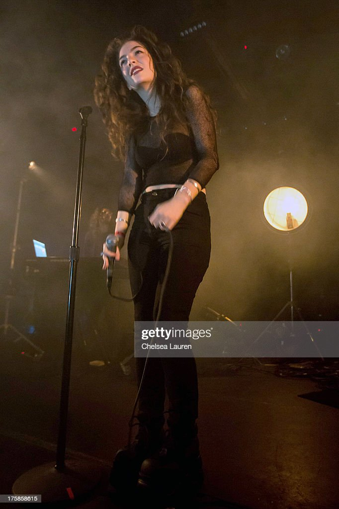Singer/songwriter <a gi-track='captionPersonalityLinkClicked' href=/galleries/search?phrase=Lorde&family=editorial&specificpeople=3209104 ng-click='$event.stopPropagation()'>Lorde</a> performs at Echoplex on August 8, 2013 in Los Angeles, California.