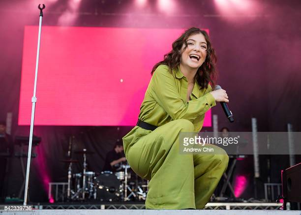 Singersongwriter Lorde performs on stage during day 1 of iHeartRadio Beach Ball at PNE Amphitheatre on September 3 2017 in Vancouver Canada