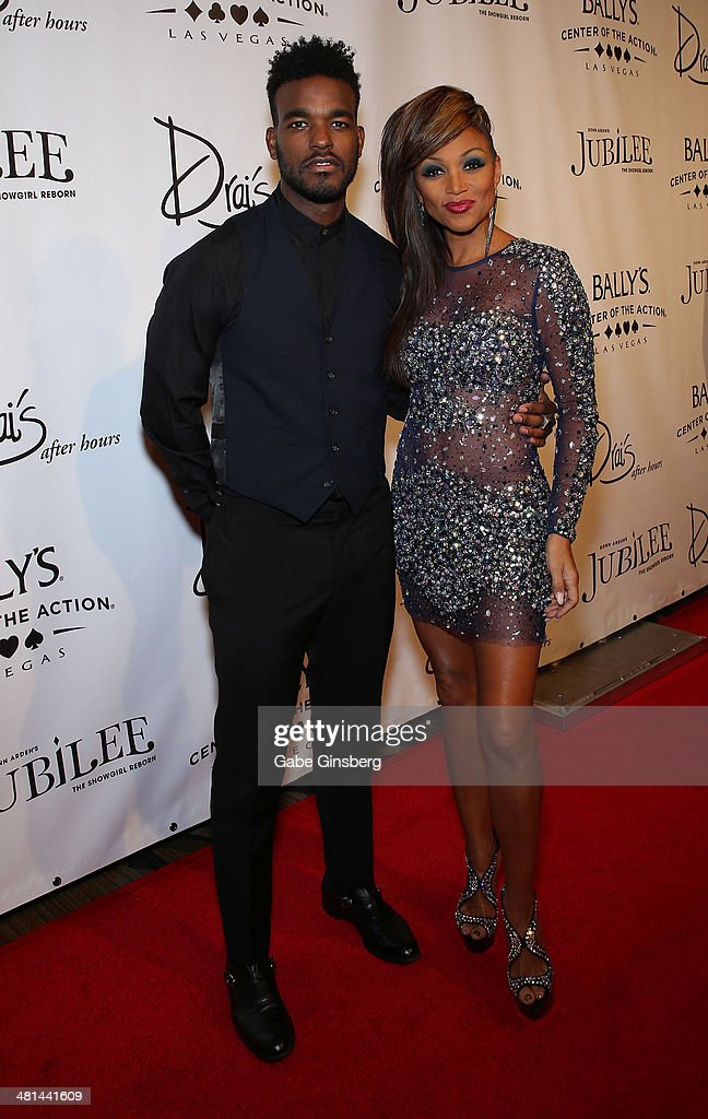 Singer/songwriter Luke James (L) and singer <a gi-track='captionPersonalityLinkClicked' href=/galleries/search?phrase=Chante+Moore&family=editorial&specificpeople=2260137 ng-click='$event.stopPropagation()'>Chante Moore</a> arrive at the 'Jubilee' show's grand re-opening at Bally's Las Vegas on March 29, 2014 in Las Vegas, Nevada.
