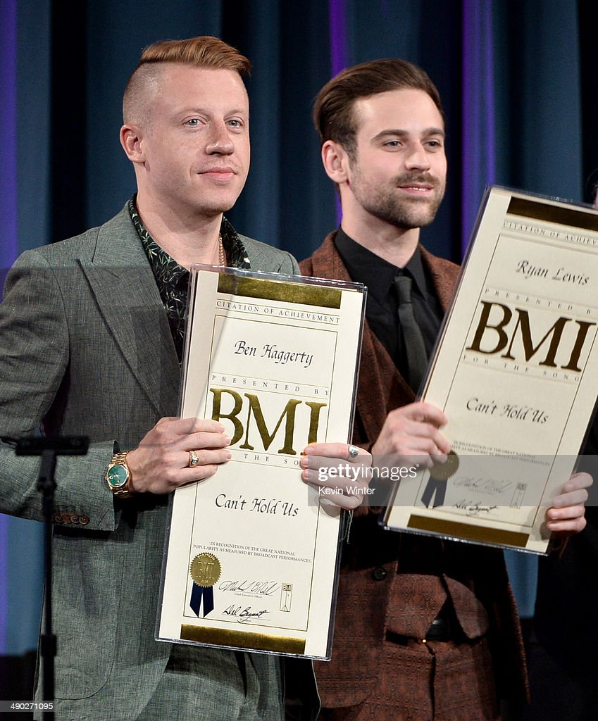 Singer/songwriter <a gi-track='captionPersonalityLinkClicked' href=/galleries/search?phrase=Macklemore&family=editorial&specificpeople=7639427 ng-click='$event.stopPropagation()'>Macklemore</a> (L) and producer/DJ Ryan Lewis accept 2014 BMI Pop Award onstage at the 62nd annual BMI Pop Awards at the Regent Beverly Wilshire Hotel on May 13, 2014 in Beverly Hills, California.