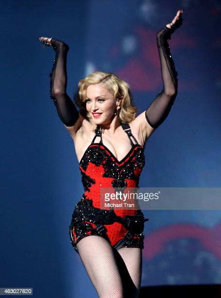 Singer/songwriter Madonna performs onstage during The 57th Annual GRAMMY Awards at STAPLES Center on February 8 2015 in Los Angeles California