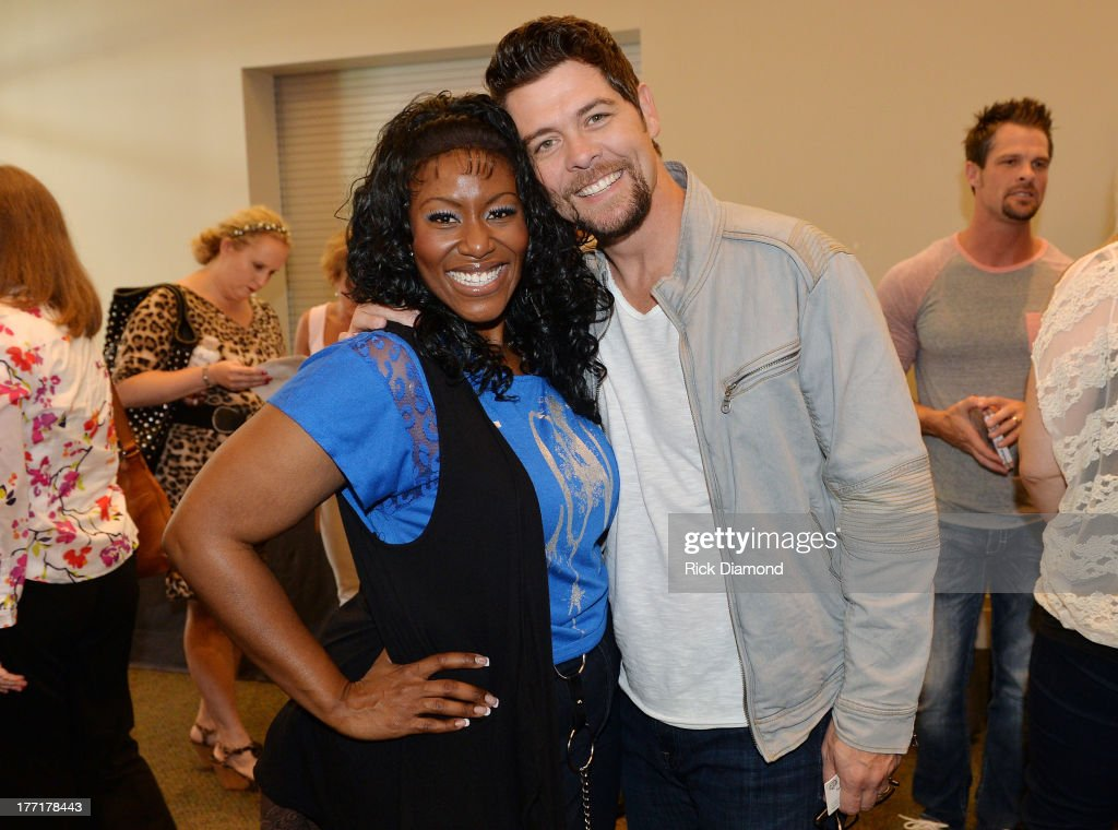 Singer/Songwriter <a gi-track='captionPersonalityLinkClicked' href=/galleries/search?phrase=Mandisa&family=editorial&specificpeople=617337 ng-click='$event.stopPropagation()'>Mandisa</a> and Jason Crabb attends the 44th Annual GMA Dove Awards Nominations Press Conference at Allen Arena, Lipscomb University on August 21, 2013 in Nashville, Tennessee.