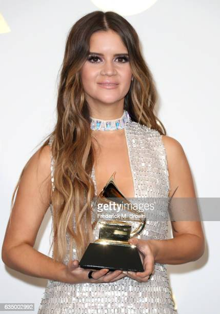 Singer/songwriter Maren Morris winner of Best Country Solo Performance for 'My Church' poses in the press room during The 59th GRAMMY Awards at...