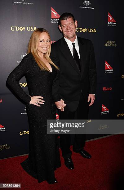 Singer/songwriter Mariah Carey and businessman/philanthropist James Packer arrive at the 2016 G'Day Los Angeles Gala at Vibiana on January 28 2016 in...