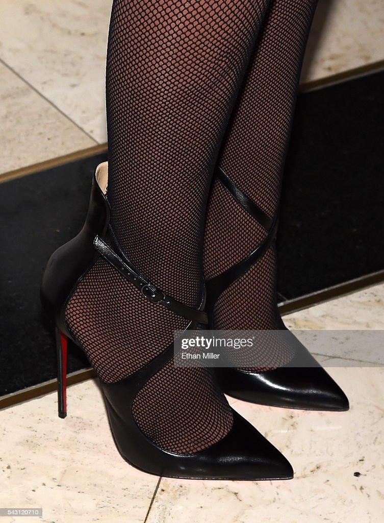 Singer/songwriter <a gi-track='captionPersonalityLinkClicked' href=/galleries/search?phrase=Mariah+Carey&family=editorial&specificpeople=171647 ng-click='$event.stopPropagation()'>Mariah Carey</a>, shoes detail, arrives at 1 OAK Nightclub at the Mirage Hotel & Casino to debut her DJ set on June 26, 2016 in Las Vegas, Nevada.