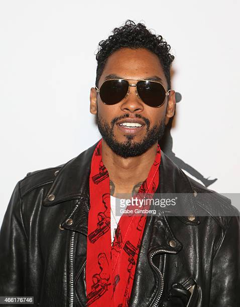 Singer/songwriter Miguel arrives at the Derek Jeter Celebrity Invitational red carpet event at the Aria Resort Casino at CityCenter on March 13 2015...