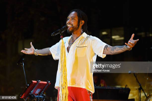 Singersongwriter Miguel performs onstage at the Annenberg Foundation and KCRW's Sound In Focus Concert at Annenberg Space For Photography on July 15...