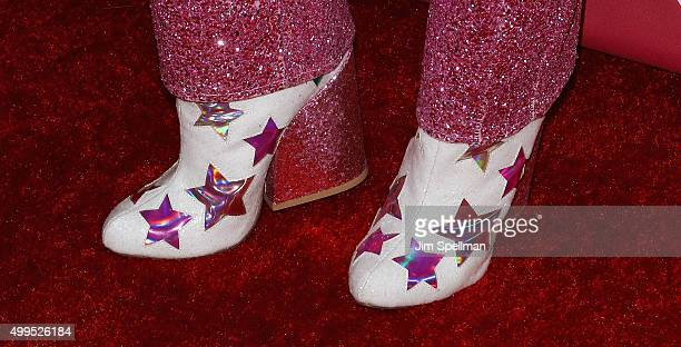 Singer/songwriter Miley Cyrus shoe detail attends the ONE And 's 'It Always Seems Impossible Until It Is Done' at Carnegie Hall on December 1 2015 in...