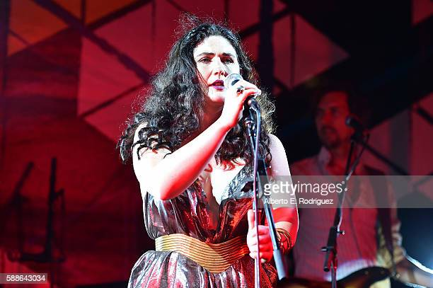 Singersongwriter Morgan Kibby performs onstage at the Sundance Institute NIGHT BEFORE NEXT Benefit at The Theatre at The Ace Hotel on August 11 2016...