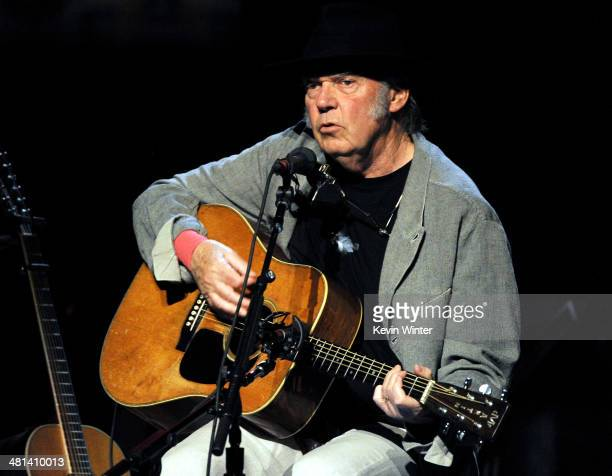 Singer/songwriter Neil Young performs at the Dolby Theatre on March 29 2014 in Los Angeles California
