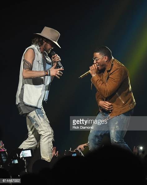 Singer/Songwriter Nelly joins Brian Kelley of Florida Georgia Line at their Dig Your Roots 2016 Tour at Bridgestone Arena on October 13 2016 in...