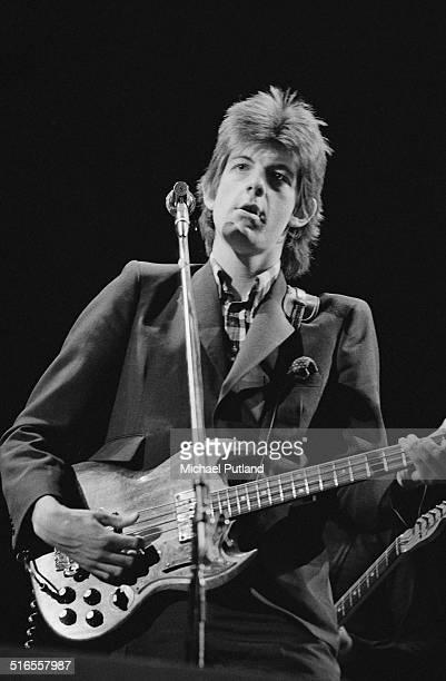 Singersongwriter Nick Lowe performing with English pub rock band Brinsley Schwarz April 1974
