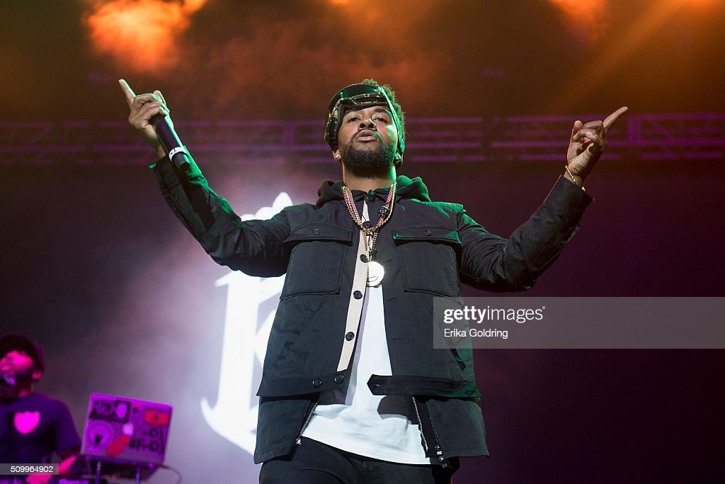 Singersongwriter Omarion performs during the Chris Brown Valentines Royalty Concert at Smoothie King Center on February 12 2016 in New Orleans...