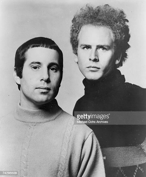 Singer/songwriter Paul Simon and singer Art Garfunkel of the folk rock duo Simon Garfunkel in a Columbia Records publicity still circa 1967 1966 in...