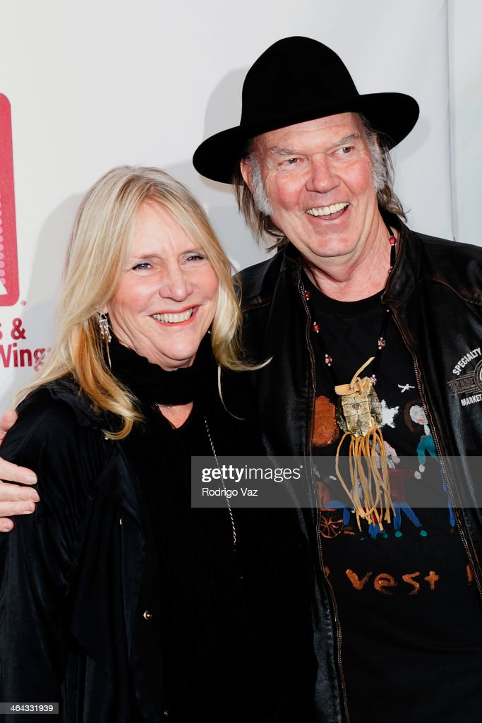 Singer/songwriter Pegi Young (L) and musician Neil Young attend The Recording Academy Producers & Engineers Wing presents 7th Annual GRAMMY Week Event honoring Neil Young at The Village Recording Studios on January 21, 2014 in Los Angeles, California.