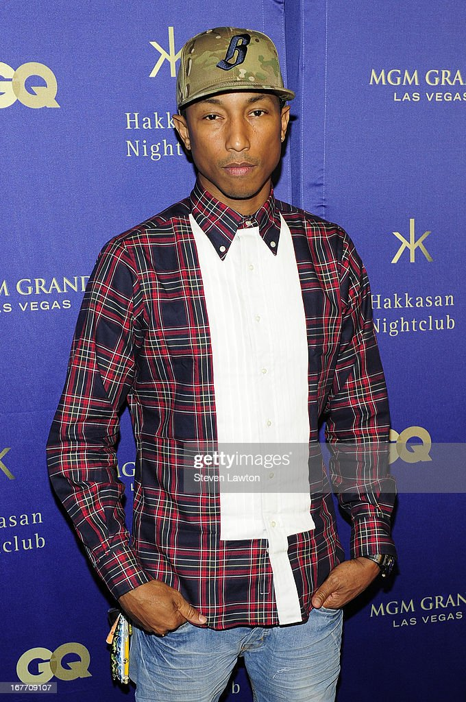 Singer/songwriter <a gi-track='captionPersonalityLinkClicked' href=/galleries/search?phrase=Pharrell+Williams&family=editorial&specificpeople=161396 ng-click='$event.stopPropagation()'>Pharrell Williams</a> arrives at the grand opening of Hakkasan Las Vegas Restaurant and Nightclub at the MGM Grand Hotel/Casino on April 27, 2013 in Las Vegas, Nevada.