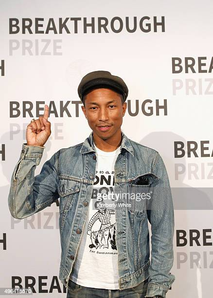 Singer/songwriter Pharrell Williams attends the 2016 Breakthrough Prize Ceremony on November 8 2015 in Mountain View California