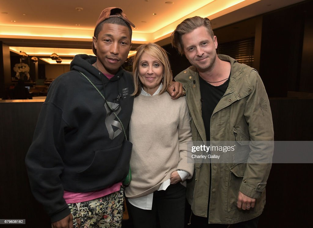 Singer/songwriter Pharrell Williams, CEO of 20th Century Fox Stacey Snider, and singer/songwriter Ryan Tedder at City Year Los Angeles Spring Break on May 6, 2017 in Los Angeles, California.