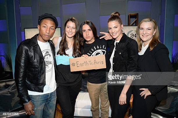Singersongwriter Pharrell Williams Parrys Raines Xiutezcatl Martinez Cameron Russell and Vanity Fair West Coast editor Krista Smith attend 'The World...