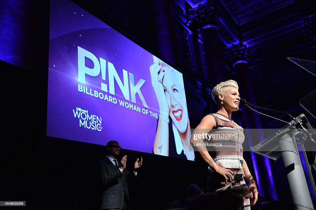 Singer-songwriter P!nk speaks onstage at Billboard's annual Women in Music event at Capitale on December 10, 2013 in New York City.