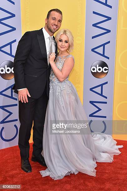 Singersongwriter RaeLynn and Josh Davis attend the 50th annual CMA Awards at the Bridgestone Arena on November 2 2016 in Nashville Tennessee