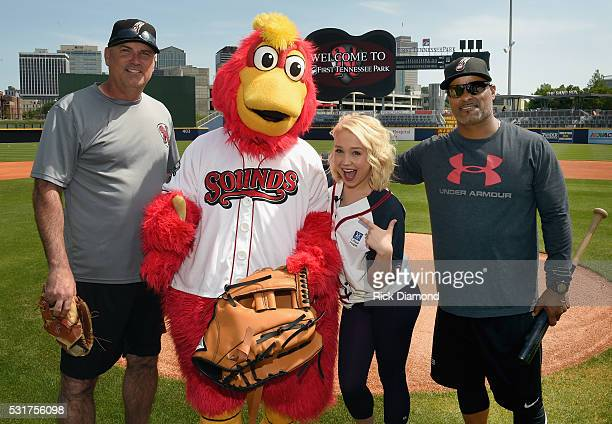 Singer/Songwriter RaeLynn Joins The Nashville Sounds Head Coach Steve Scarsone Mascot Booster and Hitting Coach Eric Martins For WarmUps To Prep For...