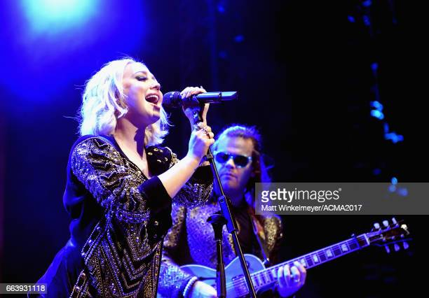 Singersongwriter RaeLynn performs onstage at the ACM Awards Official After Party at the Park Theater on April 2 2017 in Las Vegas Nevada