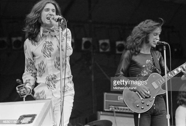 Singersongwriter Ray Davies and guitarist Dave Davies performing with The Kinks at the White City Festival White City Stadium London 15th July 1973...