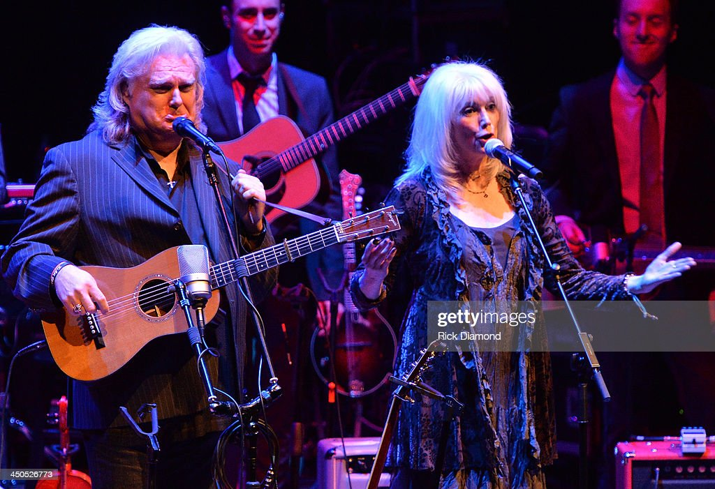 Singer/Songwriter <a gi-track='captionPersonalityLinkClicked' href=/galleries/search?phrase=Ricky+Skaggs&family=editorial&specificpeople=2134089 ng-click='$event.stopPropagation()'>Ricky Skaggs</a> and Singer/Songwriter <a gi-track='captionPersonalityLinkClicked' href=/galleries/search?phrase=Emmylou+Harris&family=editorial&specificpeople=240263 ng-click='$event.stopPropagation()'>Emmylou Harris</a> along with Ricky's band Kentucky Thunder perform at CMA Theater on November 18, 2013 in Nashville, Tennessee. Skaggs was recently announced as the Country Music Hall of Fame and Museum's 2013 Artist-in-Residence.