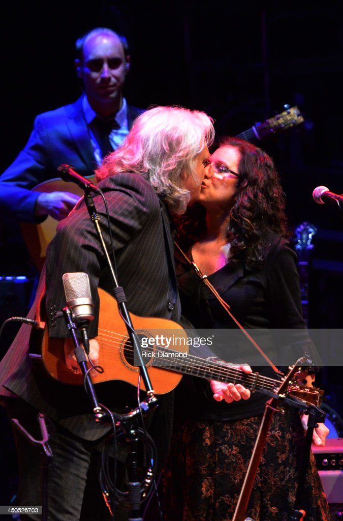 Singer/Songwriter <a gi-track='captionPersonalityLinkClicked' href=/galleries/search?phrase=Ricky+Skaggs&family=editorial&specificpeople=2134089 ng-click='$event.stopPropagation()'>Ricky Skaggs</a> and Singer/Songwrite/wife Sharon White of The Whites along with Ricky's band Kentucky Thunder perform at CMA Theater on November 18, 2013 in Nashville, Tennessee. Skaggs was recently announced as the Country Music Hall of Fame and Museum's 2013 Artist-in-Residence. (Photo Credit; Rick Diamond/Getty Images