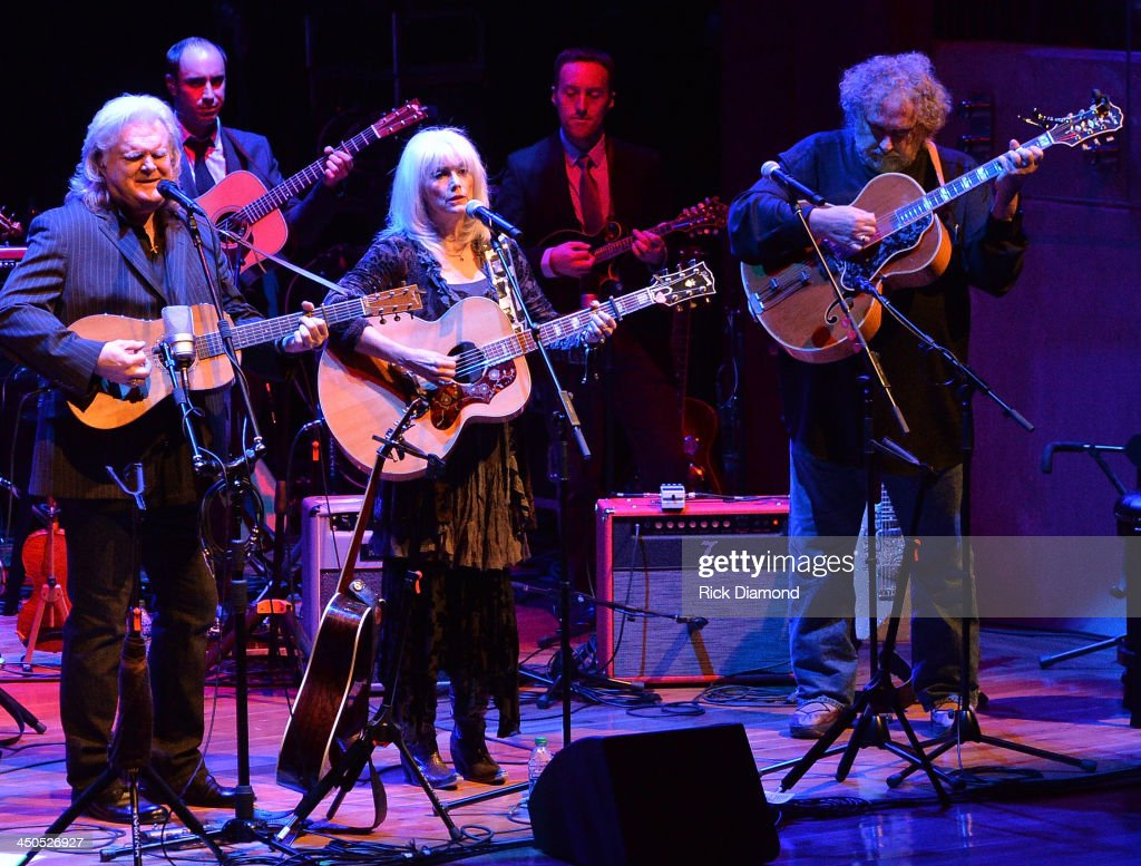 Singer/Songwriter <a gi-track='captionPersonalityLinkClicked' href=/galleries/search?phrase=Ricky+Skaggs&family=editorial&specificpeople=2134089 ng-click='$event.stopPropagation()'>Ricky Skaggs</a>, Singer/Songwriter <a gi-track='captionPersonalityLinkClicked' href=/galleries/search?phrase=Emmylou+Harris&family=editorial&specificpeople=240263 ng-click='$event.stopPropagation()'>Emmylou Harris</a> and Singer/Songwriter Brian Ahern along with Ricky's band Kentucky Thunder perform at CMA Theater on November 18, 2013 in Nashville, Tennessee. Skaggs was recently announced as the Country Music Hall of Fame and Museum's 2013 Artist-in-Residence.