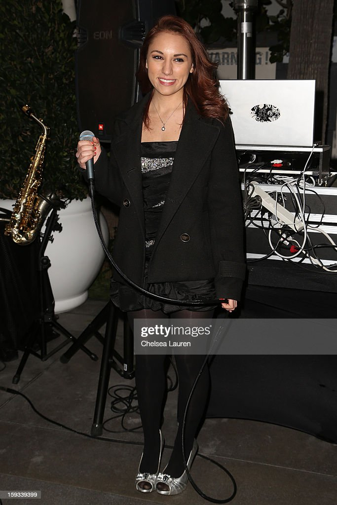 Singer-songwriter Rochelle Diamante performs at the AVG outreach event at the Viceroy Hotel on January 11, 2013 in Santa Monica, California.