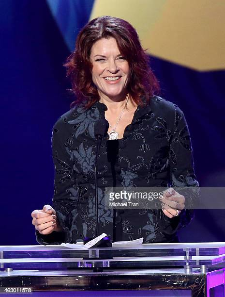 Singer/songwriter Rosanne Cash speaks onstage during The 57th Annual GRAMMY Awards premiere ceremony at STAPLES Center on February 8 2015 in Los...