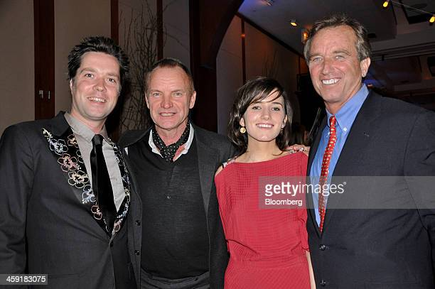 Singer/songwriter Rufus Wainwright from left musician Sting actress Kathleen 'Kick' Kennedy and her father Robert F Kennedy Jr senior attorney for...