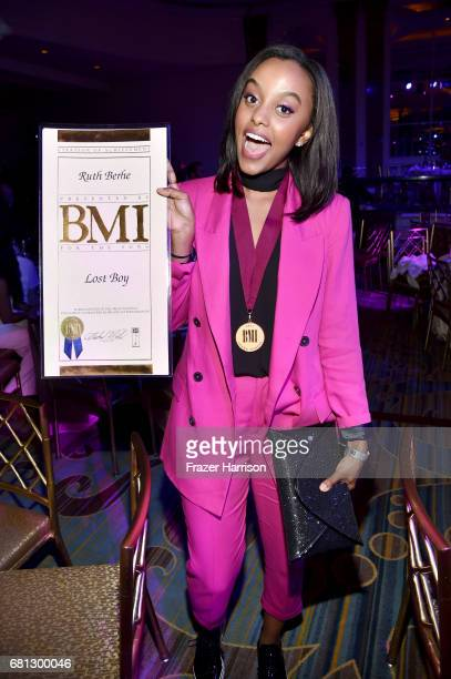 Singersongwriter Ruth B poses with award at the Broadcast Music Inc honors Barry Manilow at the 65th Annual BMI Pop Awards on May 9 2017 in Los...