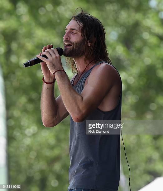 Singer/Songwriter Ryan Hurd performs at Kicker Country Stampede Manhattan Kansas Day 3 on June 25 2016 in Manhattan Kansas
