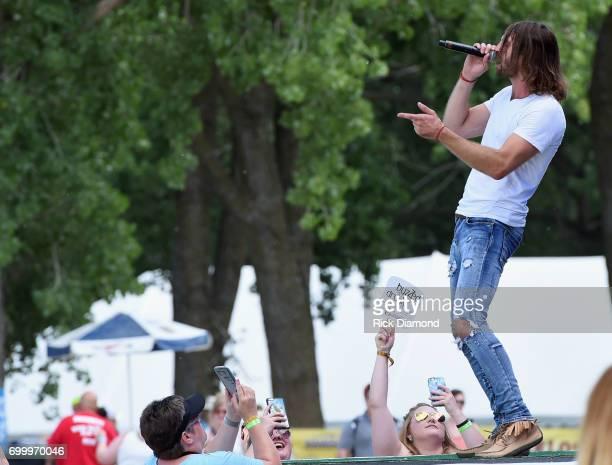 Singer/Songwriter Ryan Hurd performs during Kicker Country Stampede Day 1 at Tuttle Creek State Park on June 22 2017 in Manhattan Kansas
