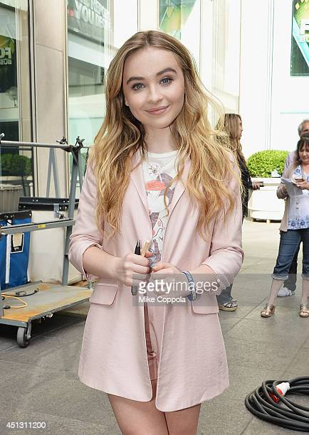 Singer/songwriter Sabrina Carpenter poses for a picture during 'FOX Friends' All American Concert Series outside of FOX Studios on June 27 2014 in...