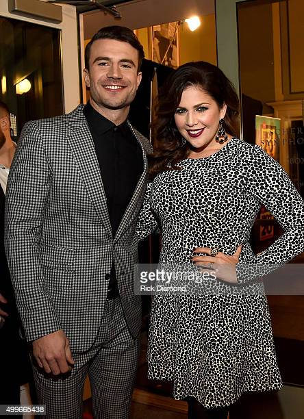 Singersongwriter Sam Hunt and Hillary Scott of Lady Antebellum attend the 2015 'CMT Artists of the Year' at Schermerhorn Symphony Center on December...