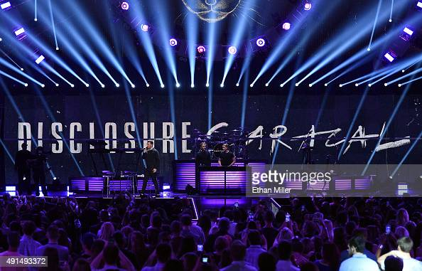 Singer/songwriter Sam Smith and recording artists Howard Lawrence and Guy Lawrence of Disclosure perform at the 2015 iHeartRadio Music Festival at...
