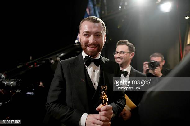 Singersongwriter Sam Smith and songwriter Jimmy Napes winners of the Best Original Song award for 'Writing's on the Wall' from 'Spectre' backstage at...
