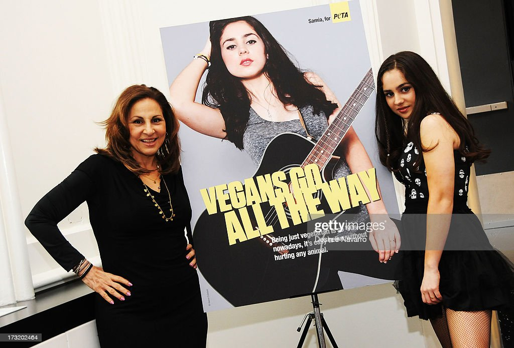 Singer/songwriter Samia Najimy Finnerty (R) and her mother, actress <a gi-track='captionPersonalityLinkClicked' href=/galleries/search?phrase=Kathy+Najimy&family=editorial&specificpeople=213513 ng-click='$event.stopPropagation()'>Kathy Najimy</a> attend Samia Najimy Finnerty PETA Ad Unveiling & Performance at Joe's Pub on July 9, 2013 in New York City.