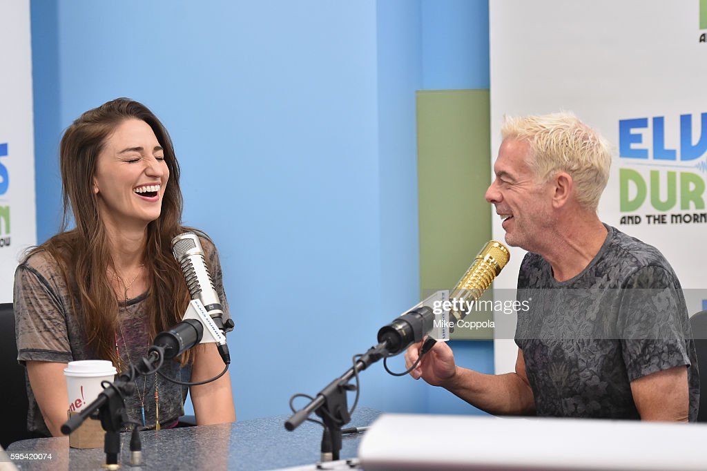 Singer/songwriter Sara Bareilles (L) is interviewed by Radio personality Elvis Duran during 'The Elvis Duran Z100 Morning Show' at Z100 Studio on August 24, 2016 in New York City.