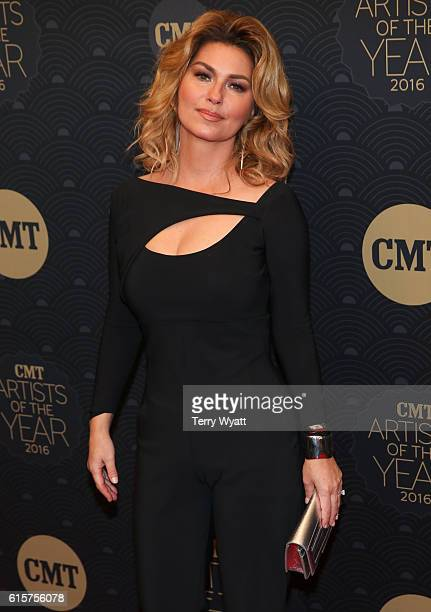 Singersongwriter Shania Twain arrives on the red carpet at CMT Artists of the Year 2016 at Schermerhorn Symphony Center on October 19 2016 in...