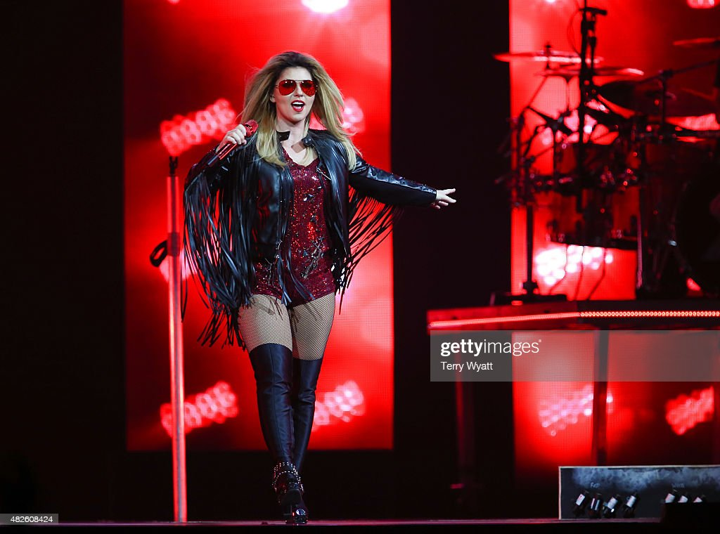 Singer-songwriter Shania Twain performs during the Rock This Country tour at Bridgestone Arena on July 31, 2015 in Nashville, Tennessee.