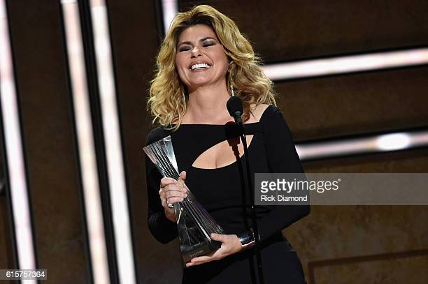 Singersongwriter Shania Twain recieves an award on stage during CMT Artists of the Year 2016 on October 19 2016 in Nashville Tennessee