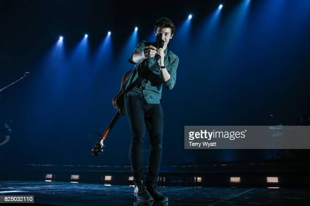 Singersongwriter Shawn Mendes performs during the Illuminate World Tour at Bridgestone Arena on July 31 2017 in Nashville Tennessee