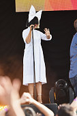 Singer/songwriter Sia waves to the crowd on ABC's 'Good Morning America' at SummerStage at Rumsey Playfield Central Park on July 22 2016 in New York...