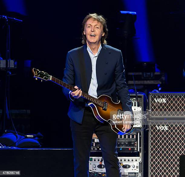 Singersongwriter Sir Paul McCartney performs during US 'Out There' tour at Wells Fargo Center on June 21 2015 in Philadelphia Pennsylvania